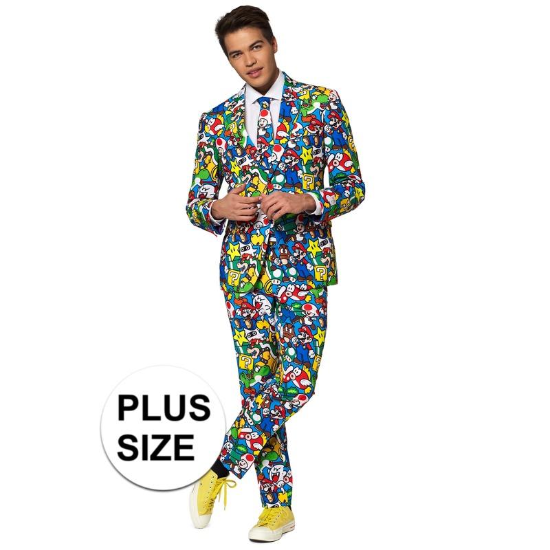 Grote maten heren verkleed pak-kostuum Super Mario print