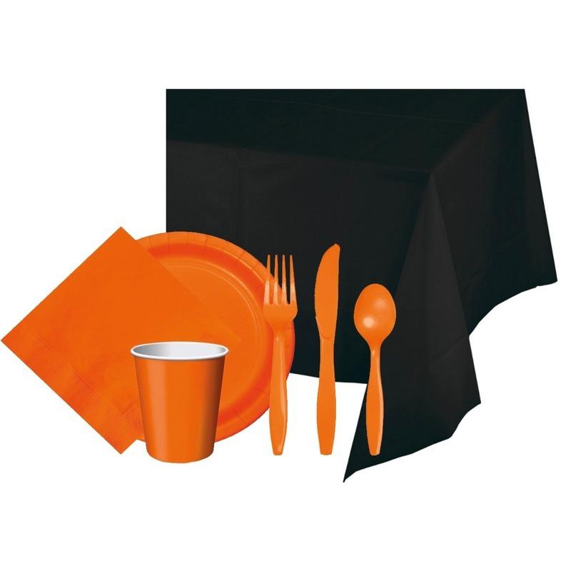 Halloween feestpakket zwart-oranje 8 persoons