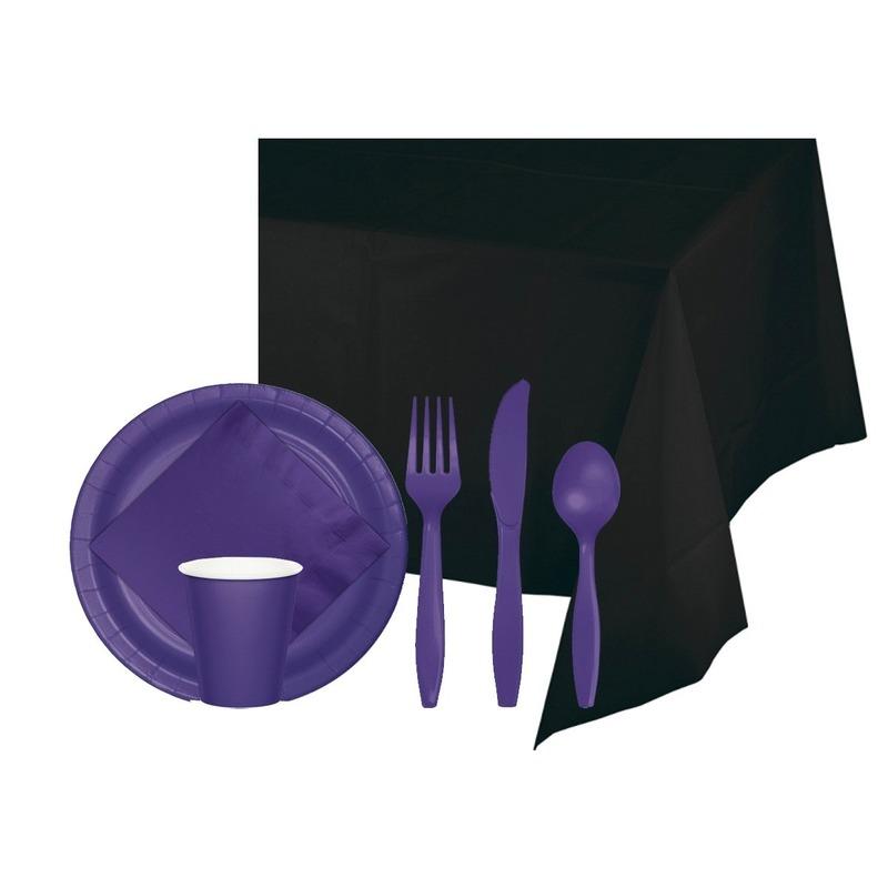Halloween feestpakket zwart-paars 8 persoons