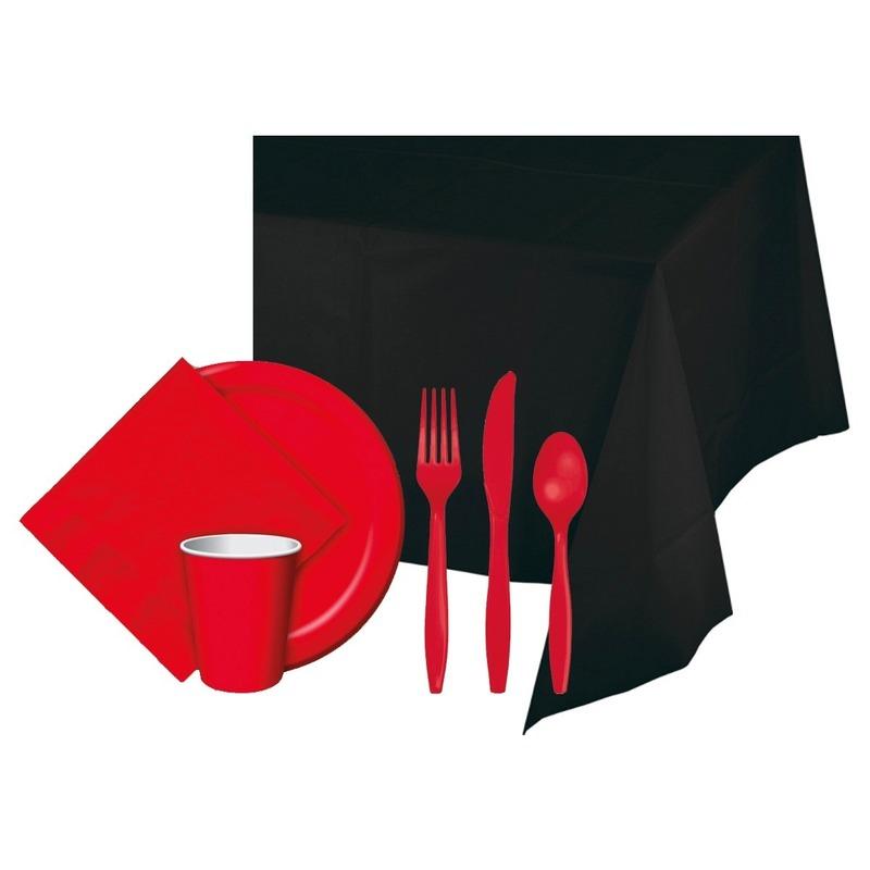 Halloween feestpakket zwart-rood 8 persoons