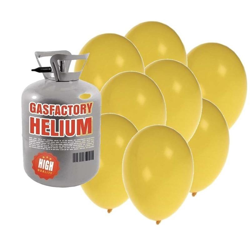 Helium tank met 30 gele ballonnen