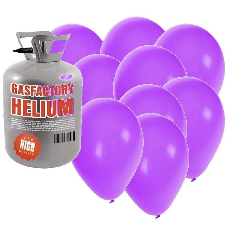 Helium tank met 30 paarse ballonnen