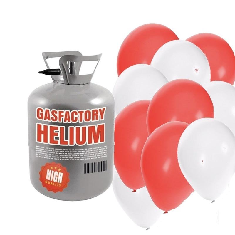 Helium tank met 30 valentijn ballonnen