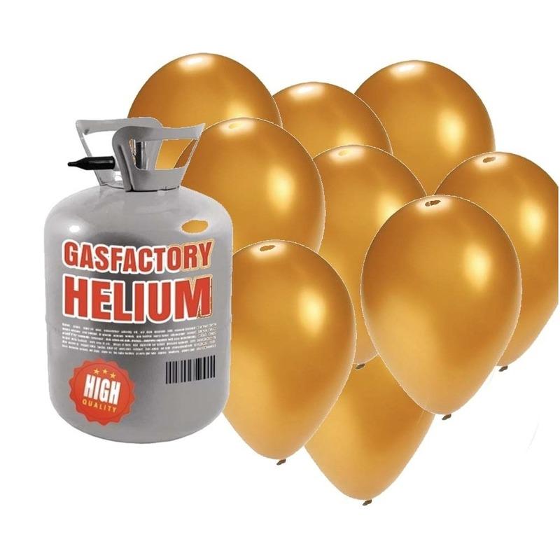 Helium tank met 50 gouden ballonnen