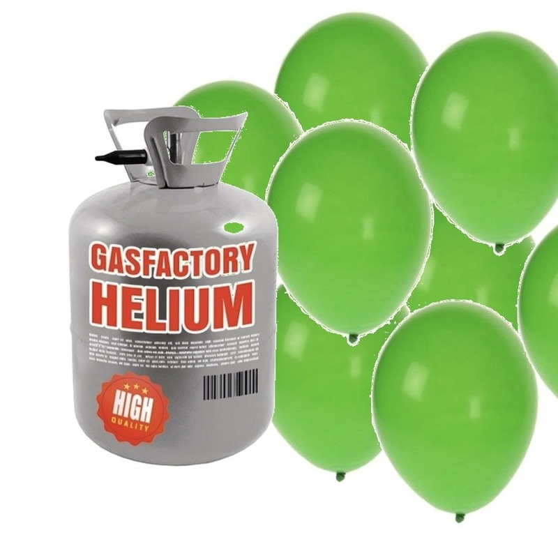 Helium tank met 50 groene ballonnen