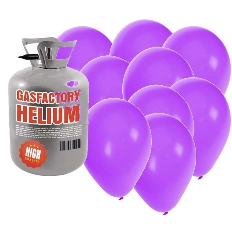Helium tank met 50 paarse ballonnen