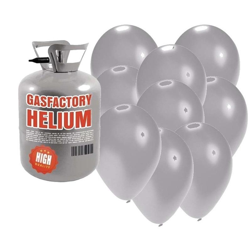 Helium tank met 50 zilveren ballonnen