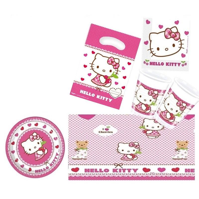 Hello Kitty thema kinderfeestje versiering pakket 2-6 personen