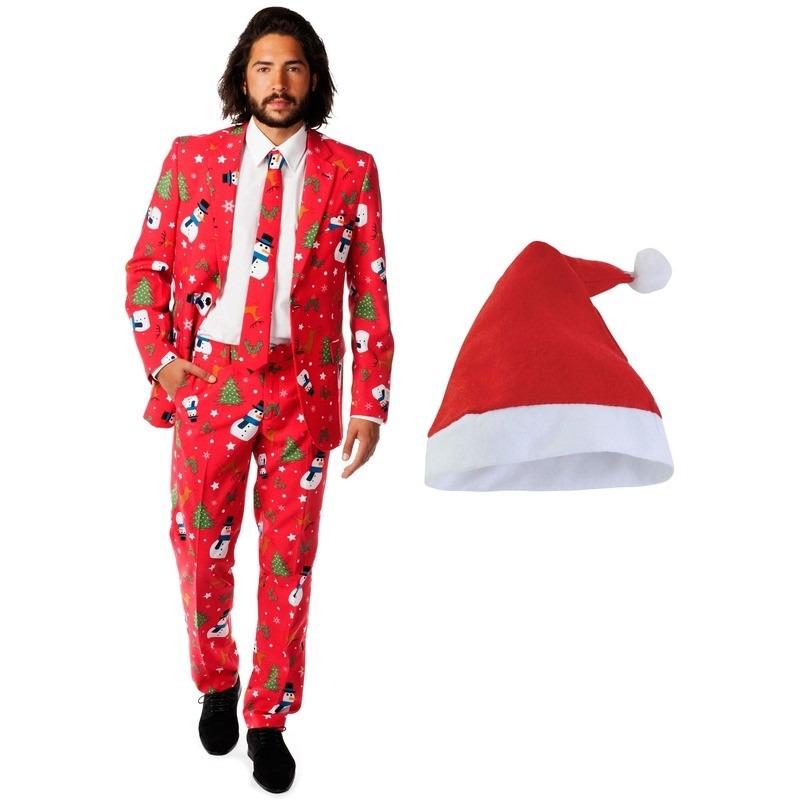 Heren Opposuits Kerst kostuum rood met kerstmuts maat 52 (XL)
