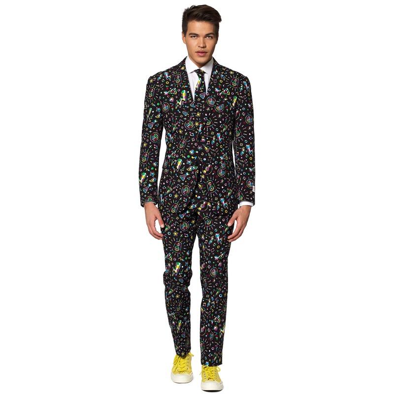 Heren verkleed pak-kostuum disco print