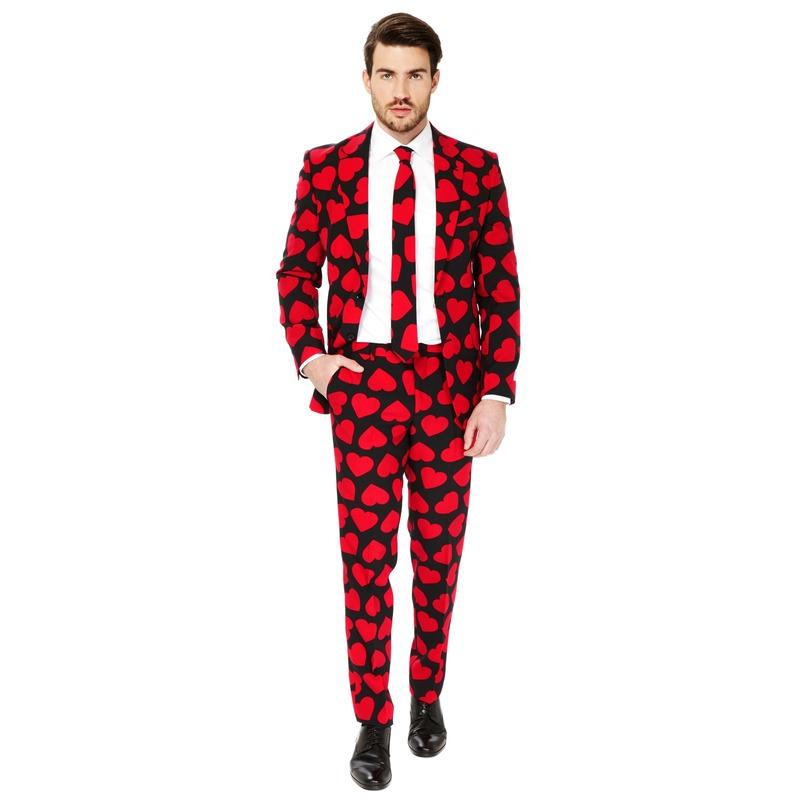Heren verkleed pak-kostuum rode hartjes print