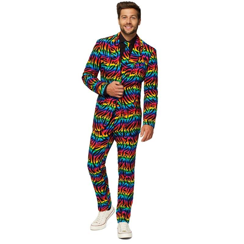 Heren verkleed pak-kostuum zebra regenboog print