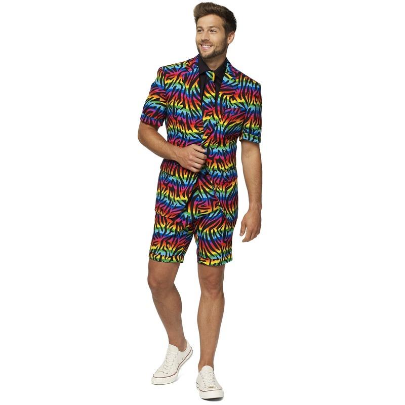Heren verkleed zomer pak-kostuum zebra regenboog print