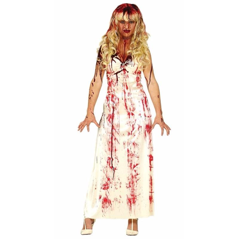 Horror Carrie jurk met bloedvlekken verkleed kostuum voor dames