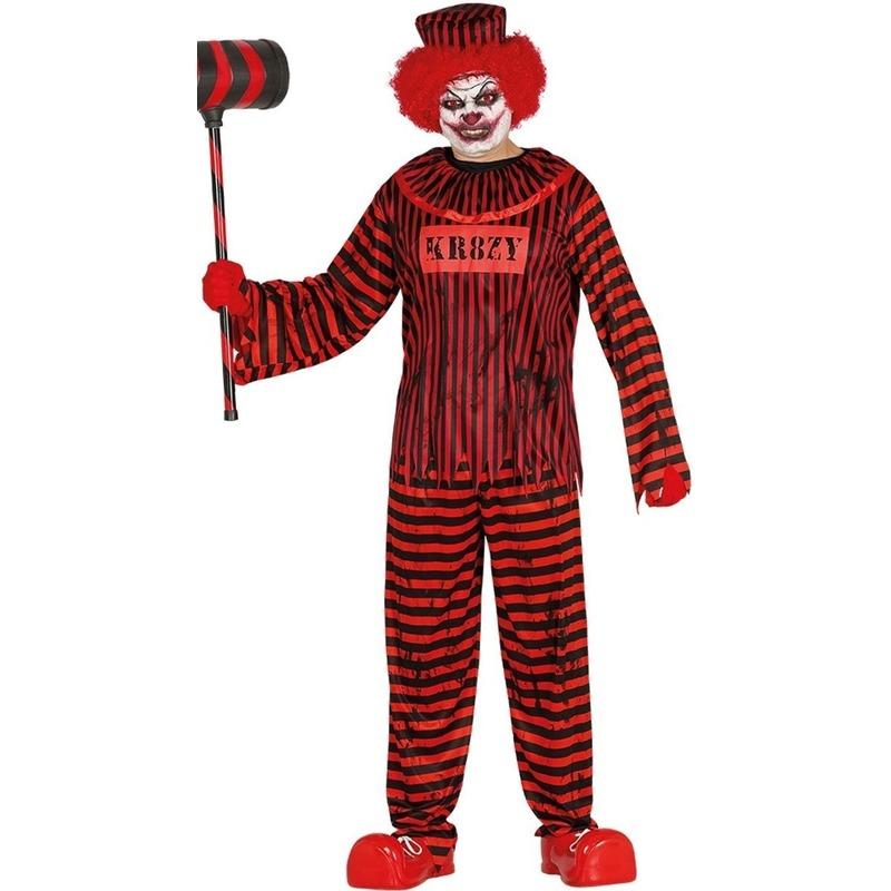 Horror clown gevangene verkleed kostuum rood-zwart voor heren