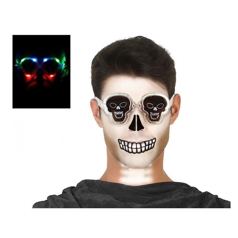 Horror doodskop verkleed bril met verlichting voor volwassen