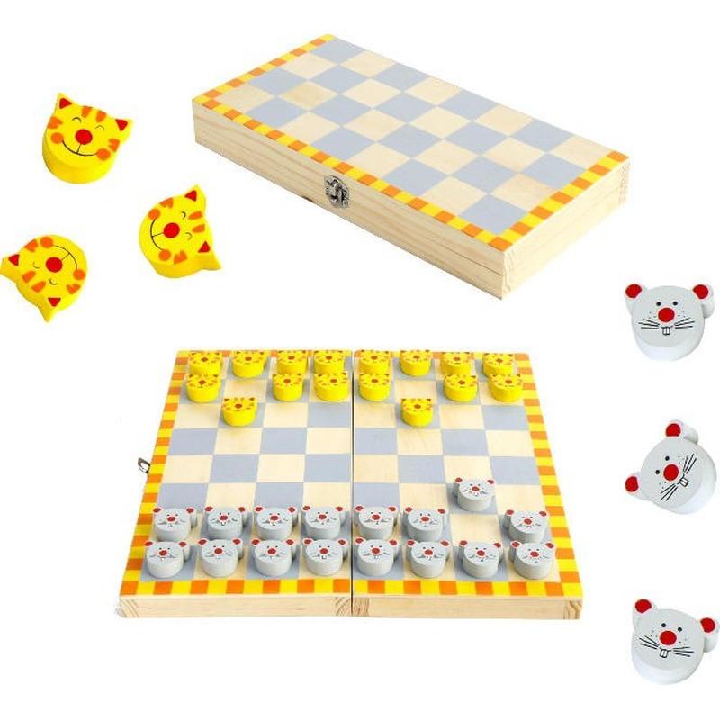 Houten damspel kat en muis met bord 26 x 26 cm