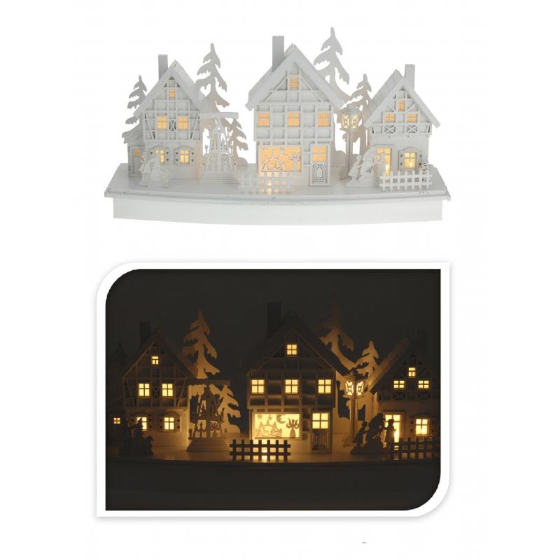 Houten kerstdorp wit met licht type 3