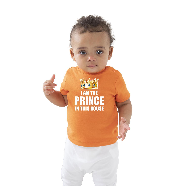 I am the prince in this house Koningsdag t-shirt oranje baby-peuter voor jongens