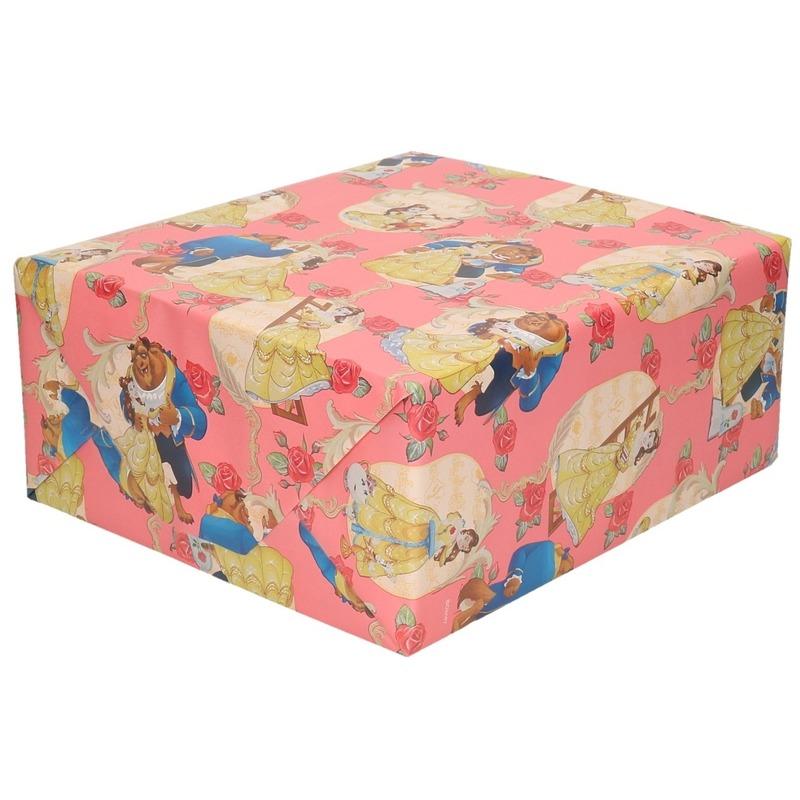 Inpakpapier-cadeaupapier Disney Belle en het Beest roze 200x70 c