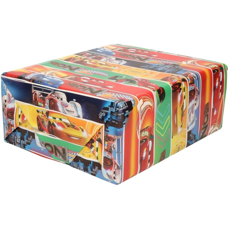 Inpakpapier-cadeaupapier Disney Cars Neon Racers 200 x 70 cm