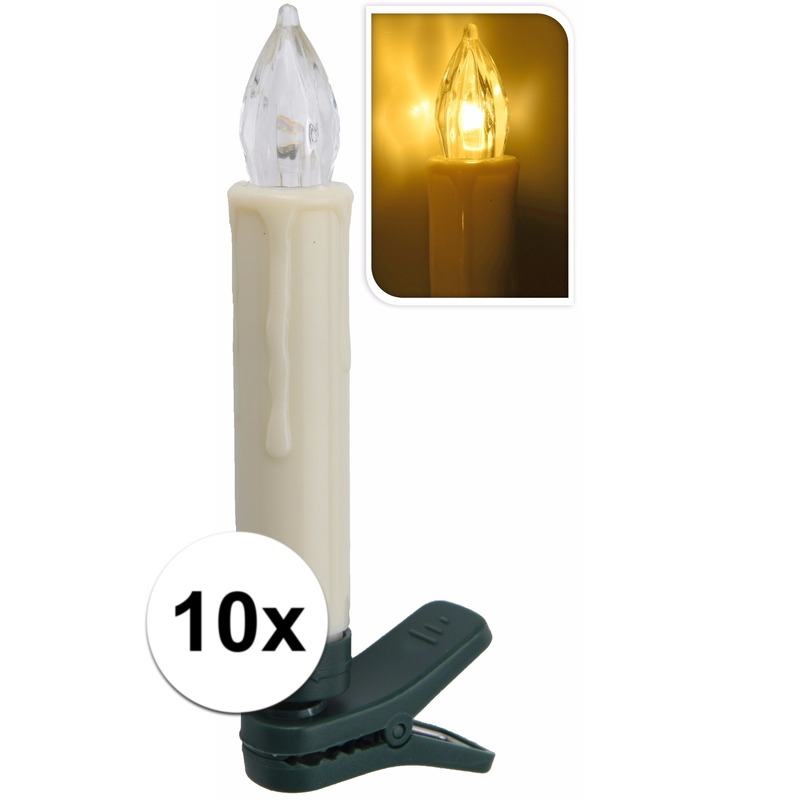Kaarsen lichtjes op clip warm wit binnen 10 lampjes