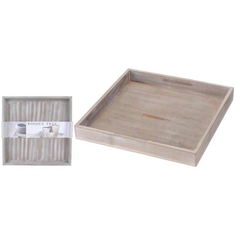 Kaarsenbord-plateau hout-houten 30 cm grey wash vierkant