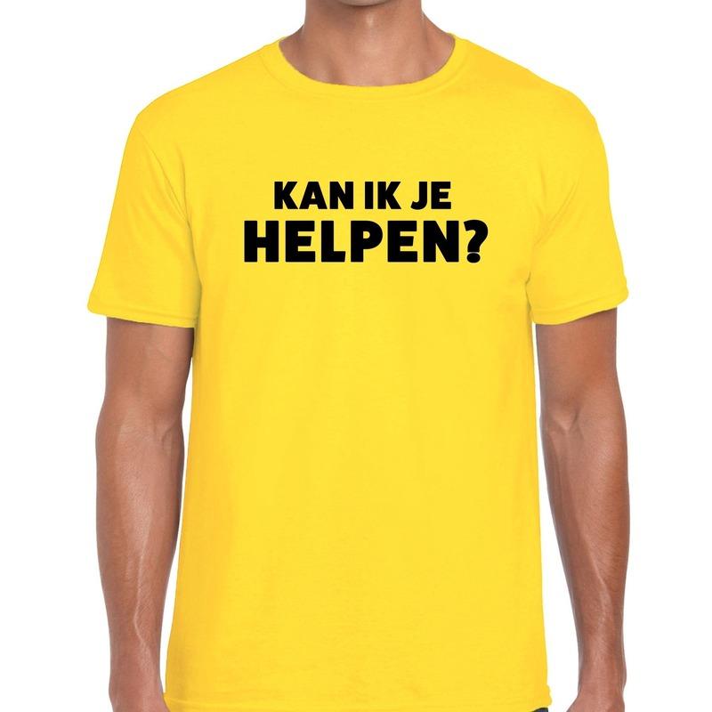 Kan ik je helpen beurs-evenementen t-shirt geel heren