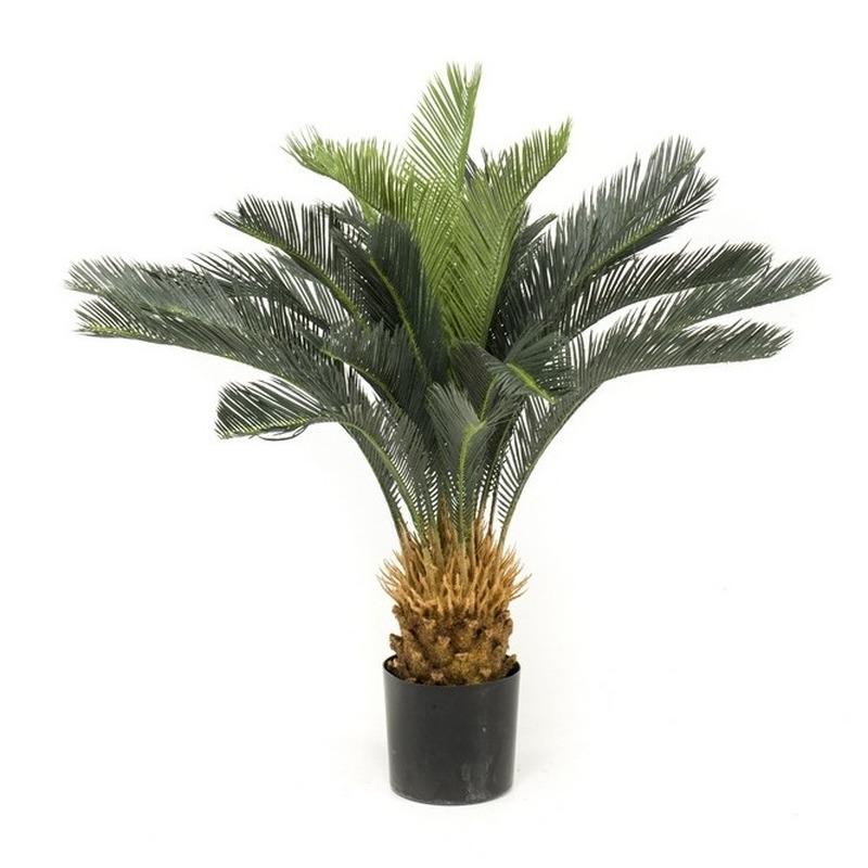 Kantoor kunstplant groene Cycas revoluta-vredespalm 90 cm in pot