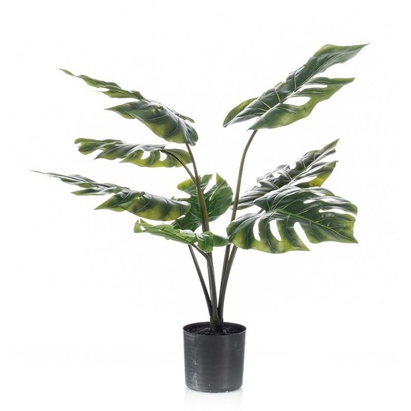 Kantoor kunstplant groene Monstera 60 cm in zwarte pot