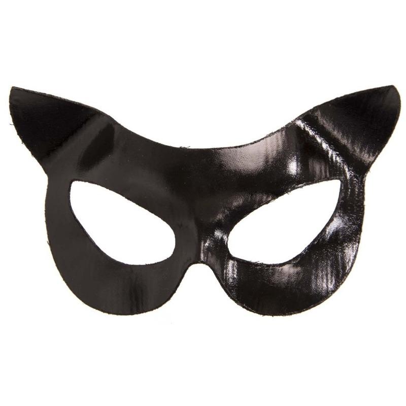 Katten-poezen verkleed oogmasker zwart vinyl voor volwassenen