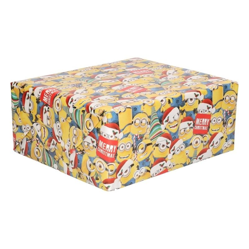 Kerst cadeaupapier-inpakpapier Minions geel 200 x 70 cm op rol