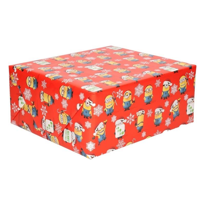 Kerst cadeaupapier-inpakpapier Minions rood 200 x 70 cm op rol