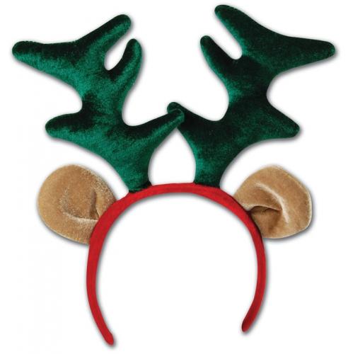 Kerst diadeem met rendier gewei. pluche diadeem met daarop rendier oren en een groen gewei.