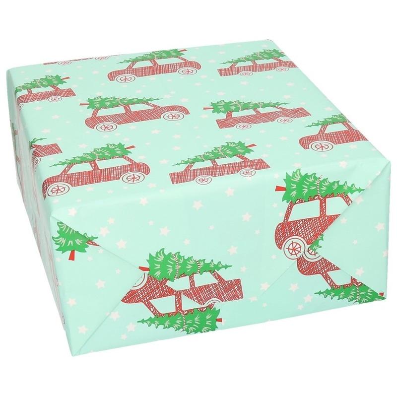 Kerst inpakpapier-cadeaupapier mintgroen auto print 70 x 200 cm