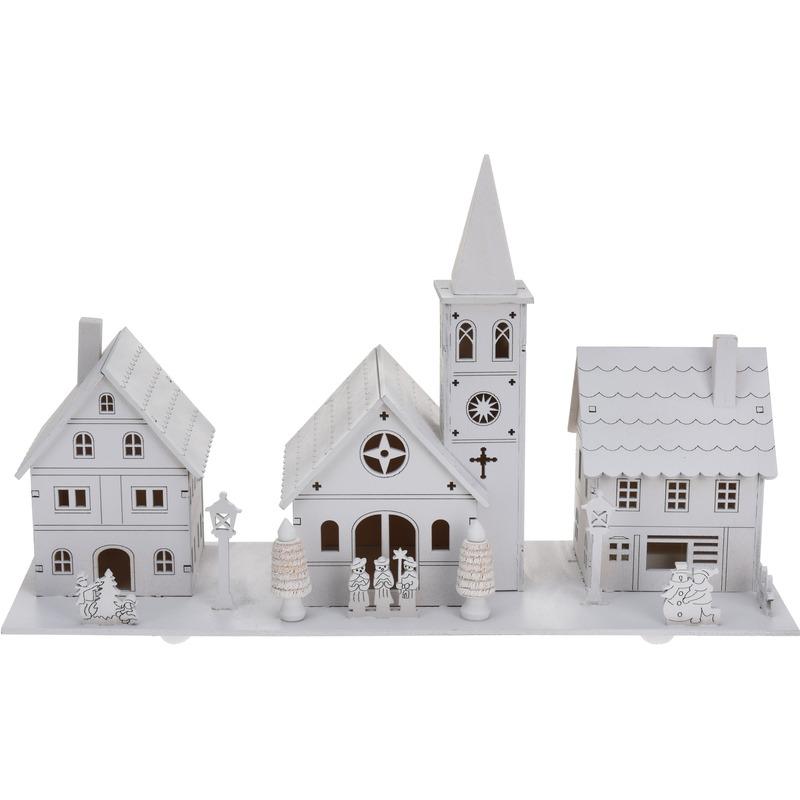Kerstdorp houten kersthuisjes wit 22 cm met LED verlichting