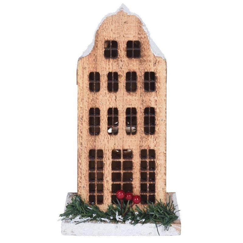Kerstdorp kersthuisje grachtenpand klokgevel 21 cm met LED