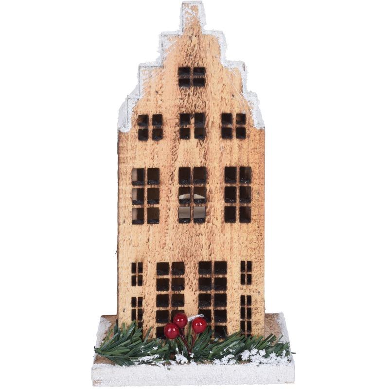 Kerstdorp kersthuisje grachtenpand trapgevel 21 cm met LED