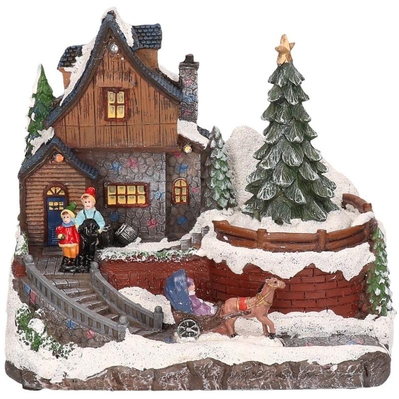 Kerstdorp kersthuisje met paard 16 cm met LED verlichting