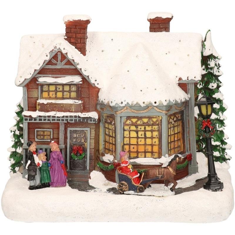 Kerstdorp kersthuisje met zingend gezin en koets 19 cm