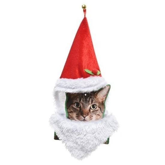 Kerstmannenpak voor katten kerstmuts en baard