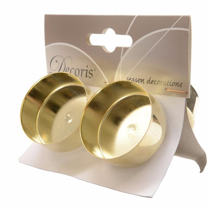 Kerststukjes theelichthouders goud 4 stuks