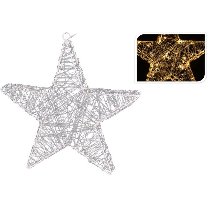 Kerstverlichting figuur ster 48 cm met 80 lampjes