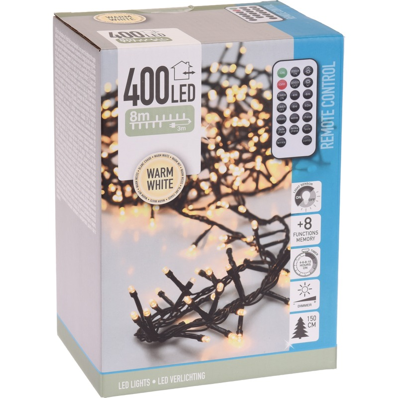 Kerstverlichting op afstandsbediening warm wit 400 lampjes