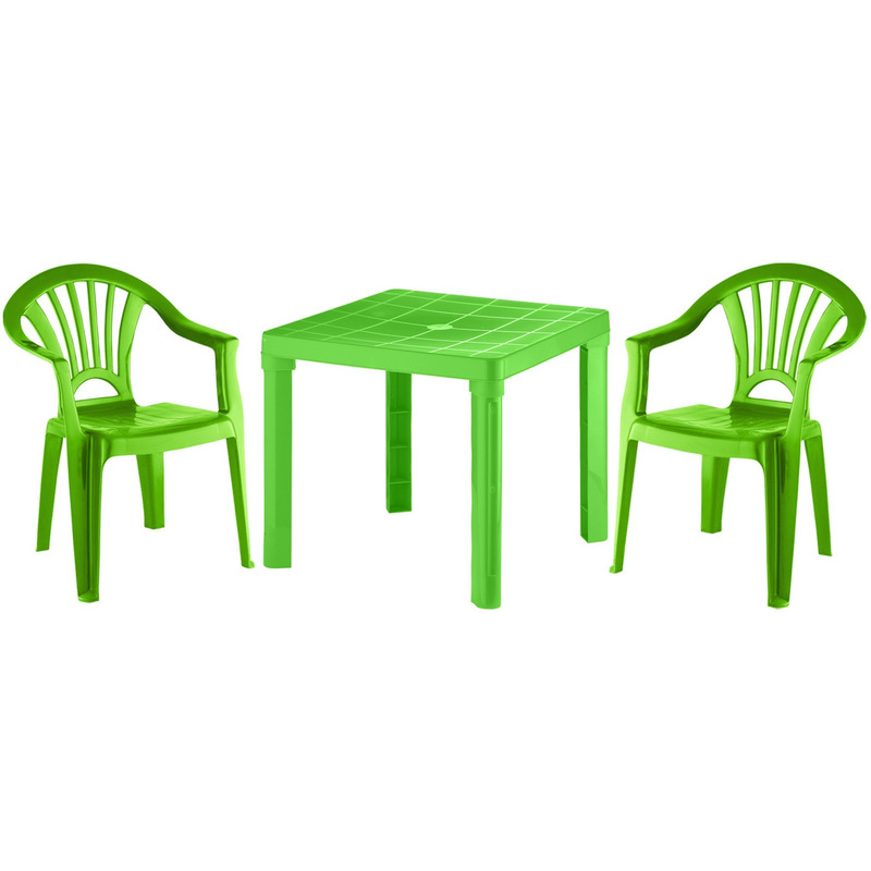 Kinder tuinsetje groen tafeltje met 2 stoelen