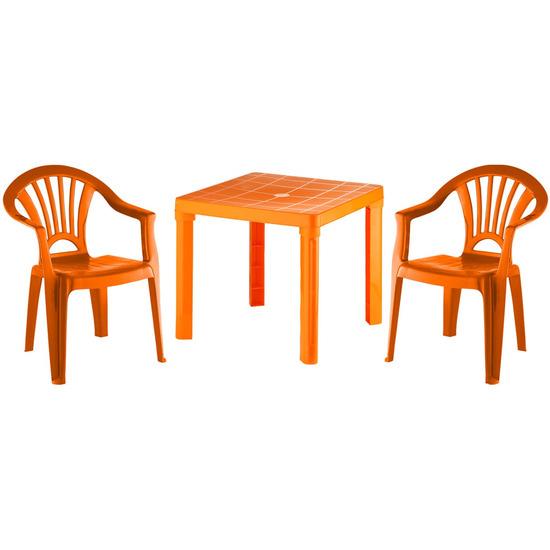 Kinder tuinsetje oranje tafeltje met 2 stoelen