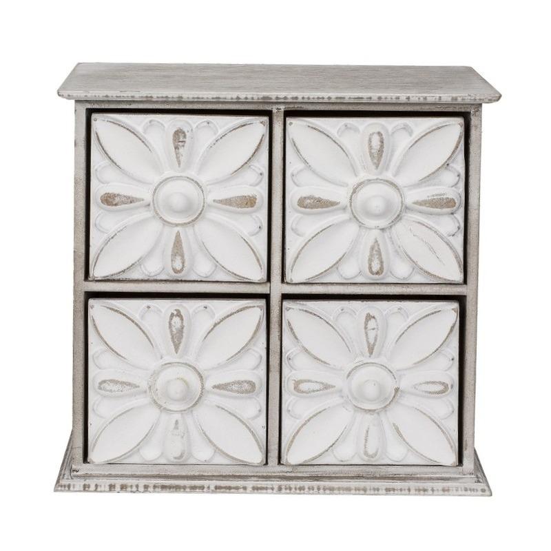 Klein houten opbergkastje met 4 lades 23 cm