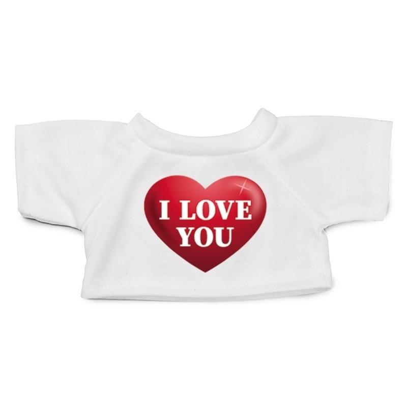 Knuffel kleding I love you hart shirt XL voor Clothies knuffel