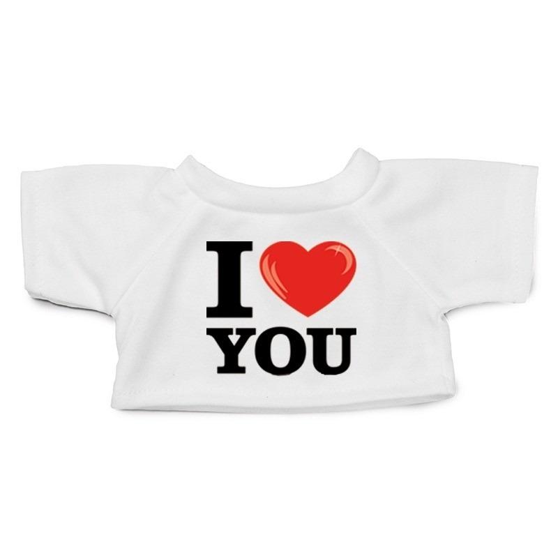 Knuffel kleding I love you t-shirt wit XL voor Clothies knuffel