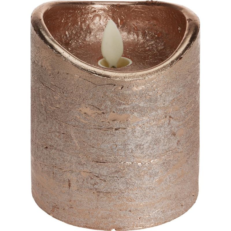 Koperen led kaars flikkerende vlam 10 cm
